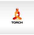 fire torch logo design symbol vector image vector image