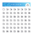 folder line icons set vector image vector image