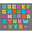 graffiti floating color fonts alphabet over gray vector image vector image