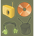 Green icons for music vector image