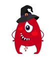Halloween monster in witch hat vector image vector image
