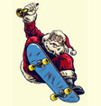 hand drawing santa claus riding skateboard vector image vector image
