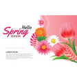 hello spring greeting card and invitation with vector image vector image