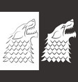 heraldic style wolf head design line and vector image