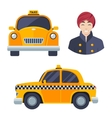 Indian hindu taxi car driver icon set vector image