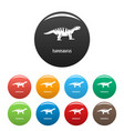 isanosaurus icons set color vector image vector image