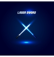 Isolated cossed light swords logo Futuristic vector image vector image