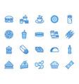 junk food flat line icons set burger fast snacks vector image vector image