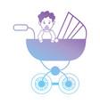line baby girl inside stroller design vector image vector image