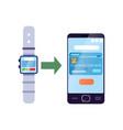 money transferring smartwatch to online bank vector image vector image