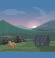 mountain landscape cartoon vector image