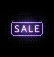 neon sale banner with line frame luminous light vector image