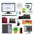 office equipment set keyboard electronics vector image vector image