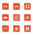 old salt icons set grunge style vector image