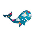 paper whale cartoon origami vector image vector image