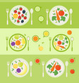 plates with fruits and vegetables lunch time vector image