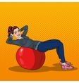 Pop Art Smiling Woman Exercising on Fitness Ball vector image vector image
