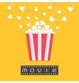 Popcorn Film strip Red yellow box Cinema movie vector image
