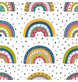 seamless pattern with colorful rainbows and peas vector image vector image