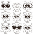 set cool owls isolated on white background vector image