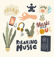 set icons relaxing music theme smartphone vector image