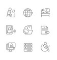 set line icons remote work vector image