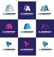 set nine trendy a letter logos vector image