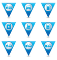 Set of 9 Transport BLUE triangular map pointer vector image vector image