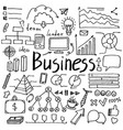 set of hand drawn doodle business icons vector image