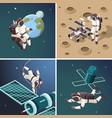 space astronauts outdoor planet vector image vector image