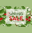 spring sale floral web banner with blooming pink vector image vector image