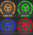 Steering wheel icon sign Fashionable modern style vector image