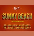 sunny beach vintage 3d summer alphabet vector image vector image