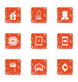 technological unit icons set grunge style vector image vector image