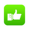 thumbs up icon digital green vector image