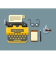 Typewriter with Sheet of Paper Glasses Notepad vector image vector image