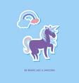 unicorn multicolor stickers with rainbow unicorn vector image