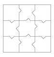 unusual blank jigsaw puzzle 9 pieces simple line vector image