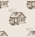 village house seamless pattern engraving vector image