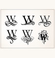 vintage set capital letter w for monograms and vector image vector image