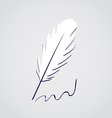 White feather calligraphic pen isolated vector image vector image