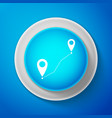 white route location icon on blue background vector image