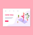 yoga girl at home meditating isometric vector image vector image