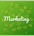 marketing concept different thin line icons vector image