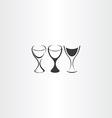 stylized wine glass set design vector image