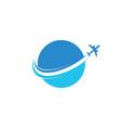 circle plane flying aviation logo vector image