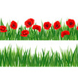 three horizontal seamless patterns with grass and vector image