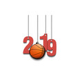 2019 new year and basketball hanging on strings vector image vector image