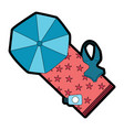 beach umbrella swimsuit and sunblock bottle vector image