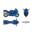 blue motorcycle in realistic style vector image